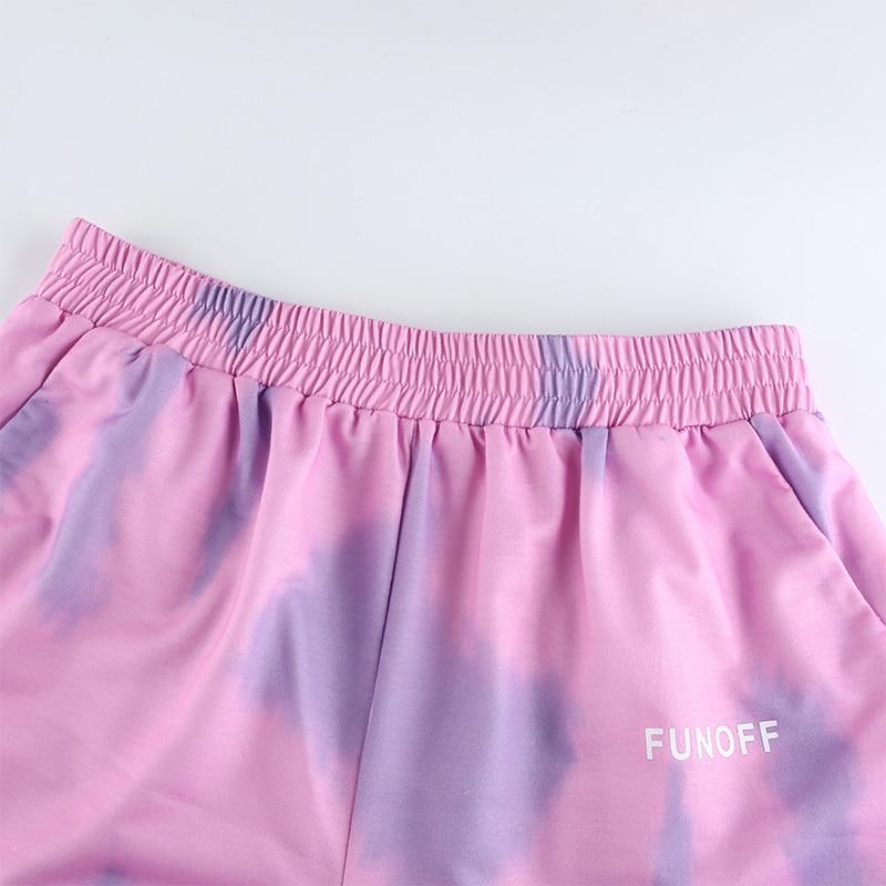 Heyoungirl Sweat-Shorts Tie-Dye-Print Elastic Harajuku High-Waist Summer Korean Casual