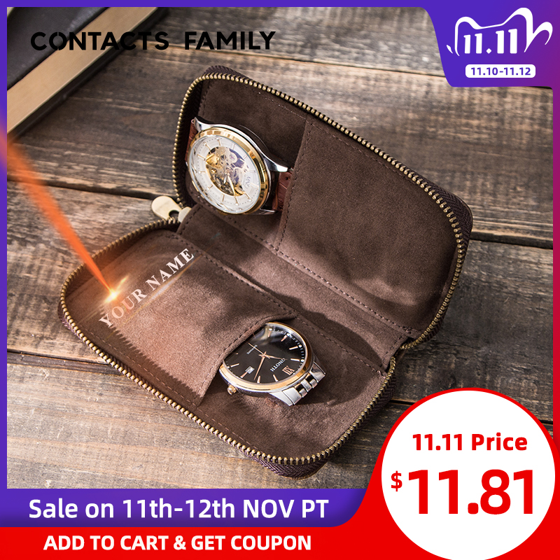 CONTACT S FAMILY Double Watch Case Bag Holder Vintage Cow Leather Zipper Travel Watch Display Storage Box Case Pouch Organizer