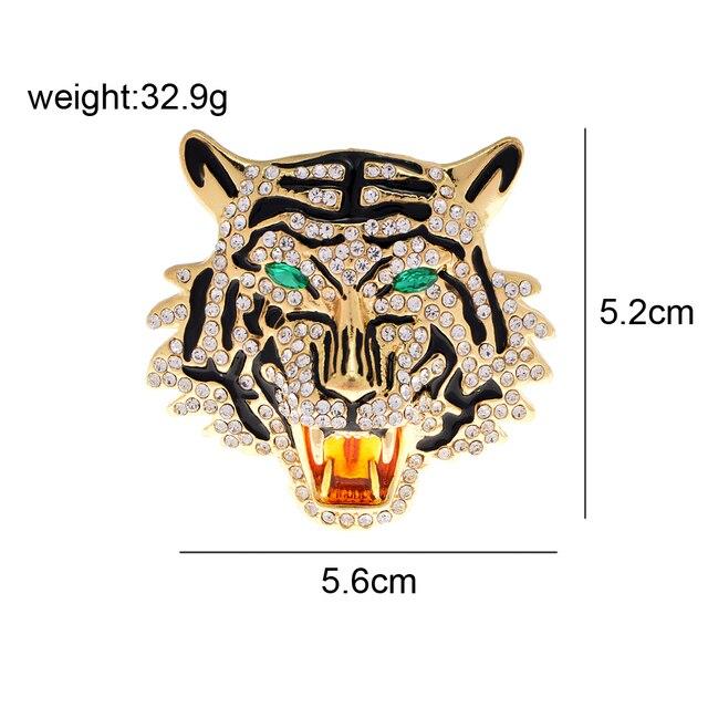 CINDY XIANG-broches Vintage con cabeza de tigre y leopardo, broche de Animal vívido, Pins, joyería de cristal con diamantes de imitación para hombres y mujeres 2