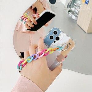Image 4 - Art Geometric Pattern Chain Wrist Strap Phone Case For iphone 12 mini 7 8 plus X XR XS Max SE 2020 11 Pro Max Cute Soft Cover