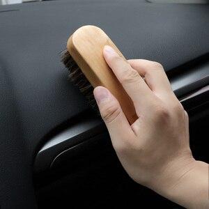 Image 2 - Cuidado automático punho de madeira detalhando ferramentas de limpeza lavagem de carro horsehair escova detalhe limpo escova auto interior mais limpo