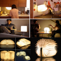 De madeira do Livro Dobrável LEVOU Lâmpada Recarregável USB Multi Color_Light Decoração Luzes noturnas     -