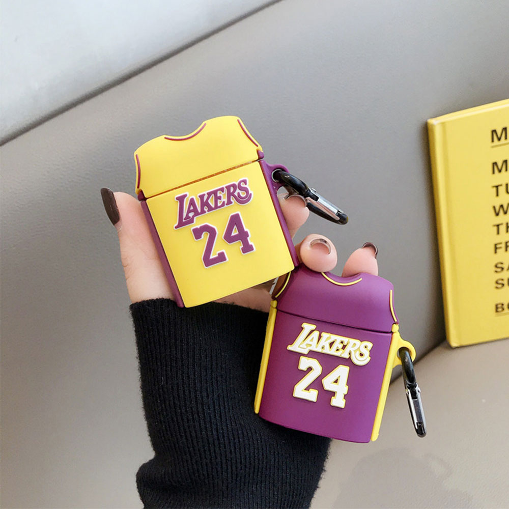 Laker No.24 Basketball Jersey Soft Shockproof <font><b>Silicone</b></font> Wireless Bluetooth For <font><b>Apple</b></font> <font><b>Airpods</b></font> 1/2 <font><b>Case</b></font> Protection Cover With Clip image