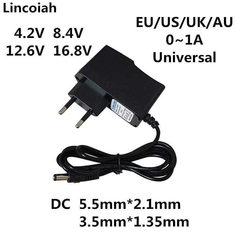 4,2 в, 8,4 в, 12,6 в, 16,8 В, 1A, 4,2 мА, адаптер питания переменного/постоянного тока, 8,4, 12,6, 16,8 в, зарядное устройство для 18650 литиевого аккумулятора