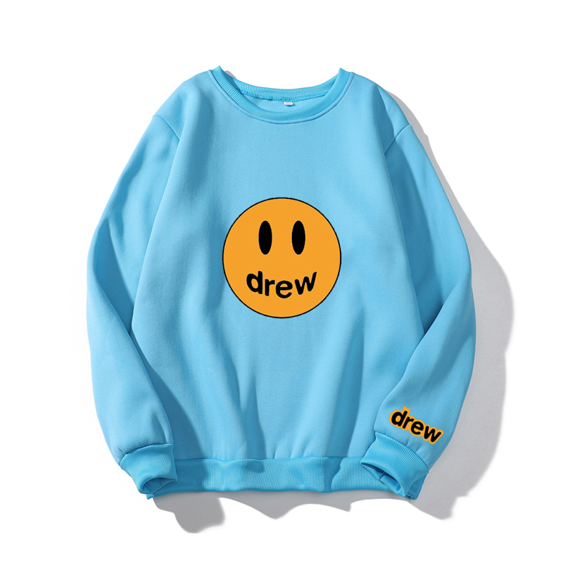 Fashion Universal Sweatshirt  Justin Bieber The Drew House Smile Face Print Women Hoodies Sweatshirts Hip Hop Pullovers Winter F