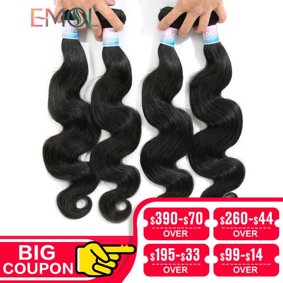 Emol Haar Körper Welle Haar Bundles 100% Menschliche Haarwebart Bundles Nicht-remy Brasilianische Haar Bundles 1/3/4 Stücke/lot