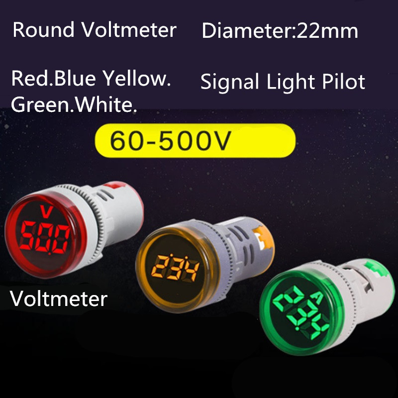 22mm LED Digital Display Gauge Volt Voltage  Indicator Signal Lamp Voltmeter Lights Tester Combo Measuring Range 60-500V AC