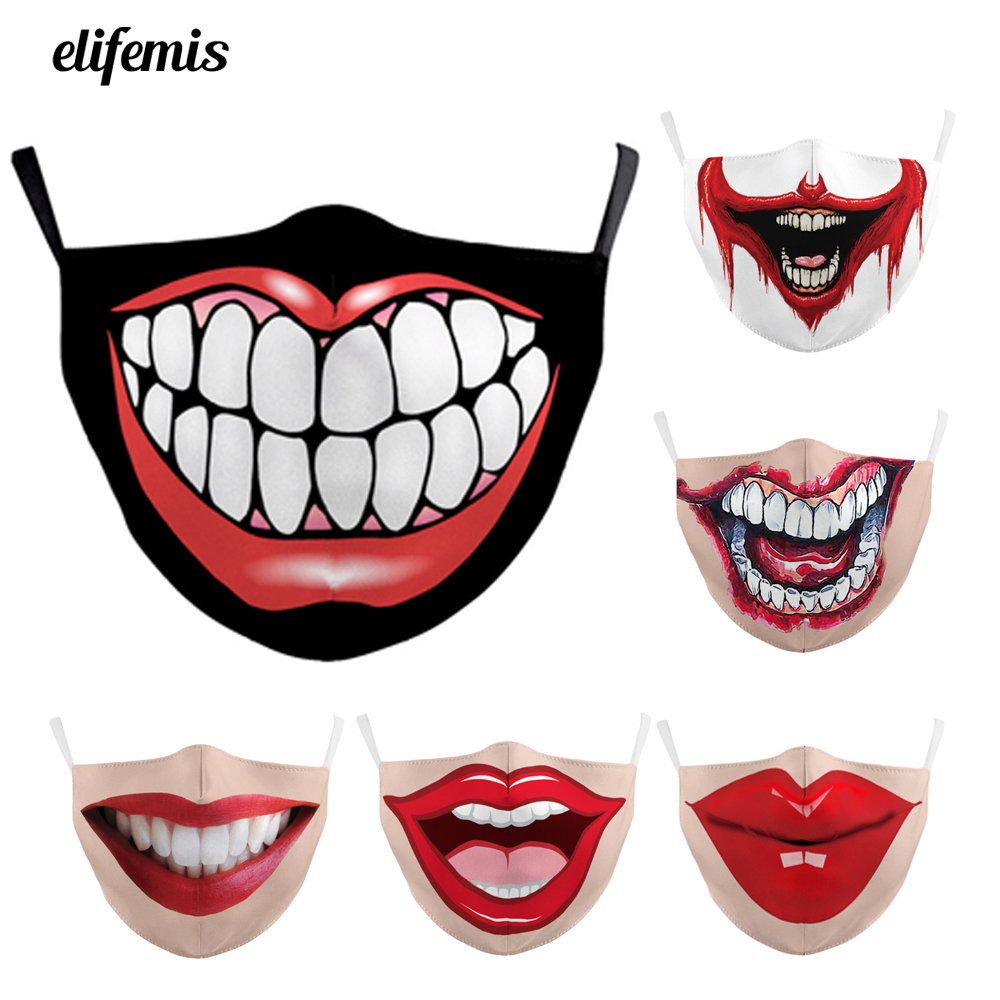Fashion Big Mouth Pattern Smiley Mouth Masks Joker Mouth Cover Reusable Protection Dust Washable Masks Proof Bacteria Face Mask