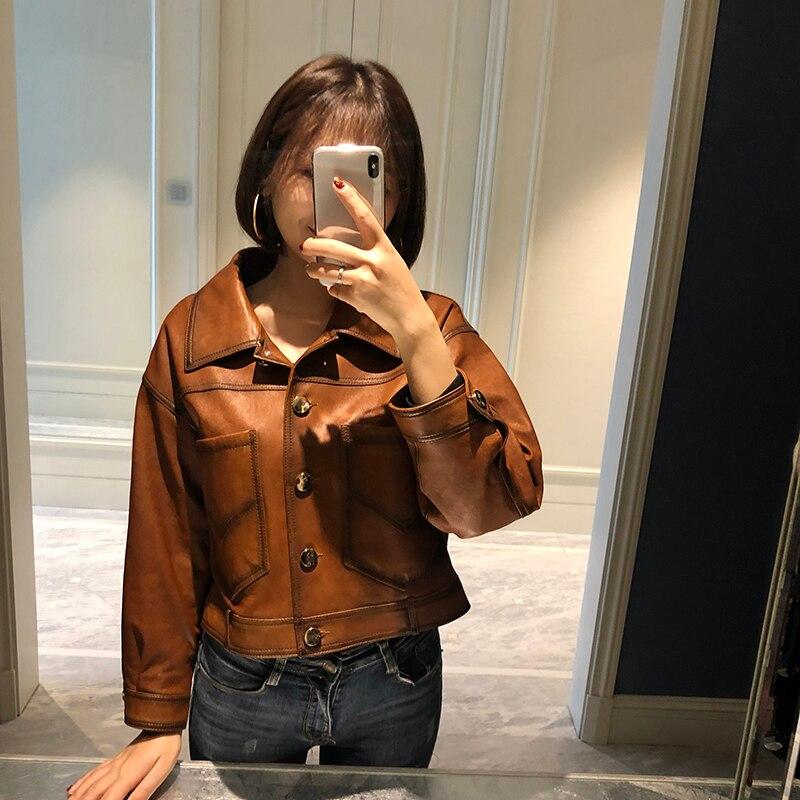 Natural Sheepskin Coat Female Genuine Leather Jacket Women Clothes 2019 Vintage Moto Short Real Leather Jacket Hiver T980