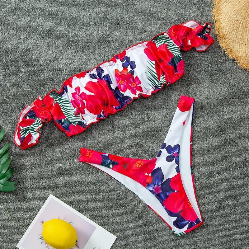 Off Shoulder Thong Bikini 2020 Sexy Floral Print Swimwear Women Bathers High Cut Ruffle Brazilian Swimsuit Female Bathing Suit 2