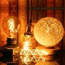 Ретро Спираль светильник светодиодный ламп накаливания 220V A60 ST64 G125 G95 G80 T45 T185 затемнения 4 Вт 2200K Винтаж лампы для декоративный светильник Инж