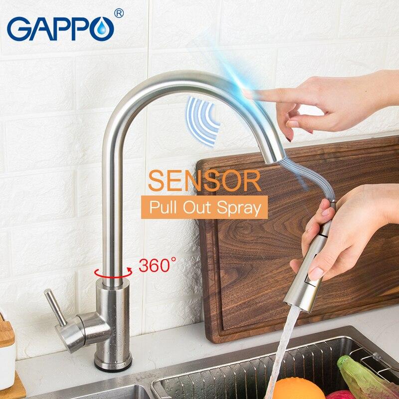 GAPPO Edelstahl Touch Control Küche Armaturen Smart Sensor Küche Mixer Touch Wasserhahn Küche Pull Out Sink Tap Wasserhahn