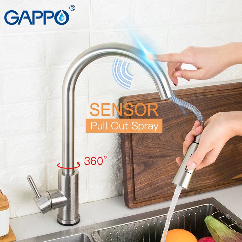 GAPPO Stainless Steel Touch Control Kitchen Faucets Smart Sensor Kitchen Mixer Touch Faucet Kitchen Pull Out Sink Tap Faucet