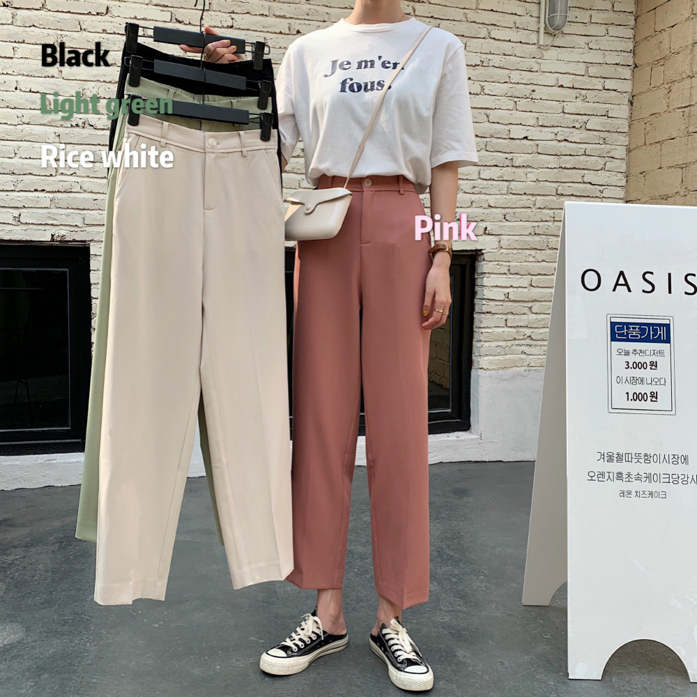 Women Summer High Waist Brief Suit Pants Ankle Length Solid Color Zipper Regular Trousers