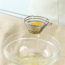 Спиральная полая Воронка сепаратор яичного белка из нержавеющей стали длинная ручка яичный желток яйцо белый сепаратор Воронка разделитель сито 30D5
