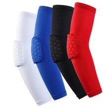 Único esportes armguard basquete favo de mel anti-colisão apoio cotovelo alongado alta elástica de secagem rápida engrenagem de proteção