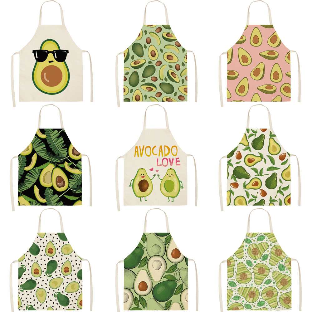 Avocado Printed Sleeveless Cotton Aprons Anti-oil Kitchen Cooking Aprons For Women Chefs  Household Cleaning Apron Delantales