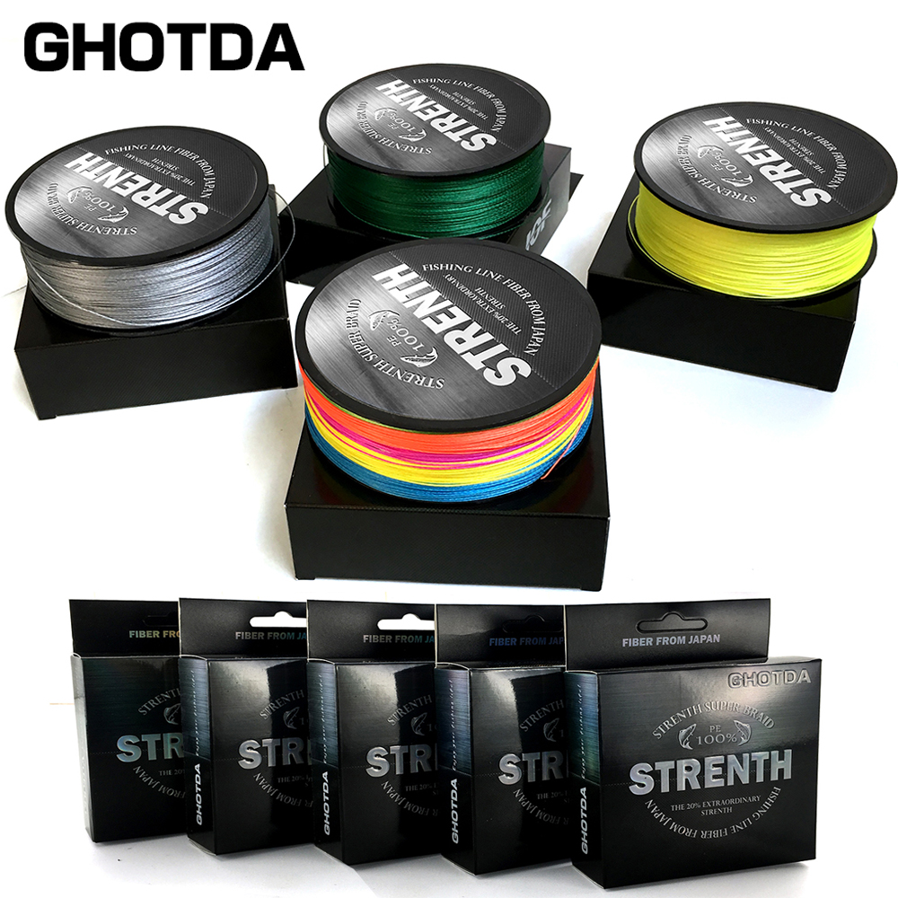 GHOTDA 8 Strands Fishing Line 500M 300M 100M  Multifilamen Braided Fishing Line PE Line 18 22 31 39 50 58 68LB