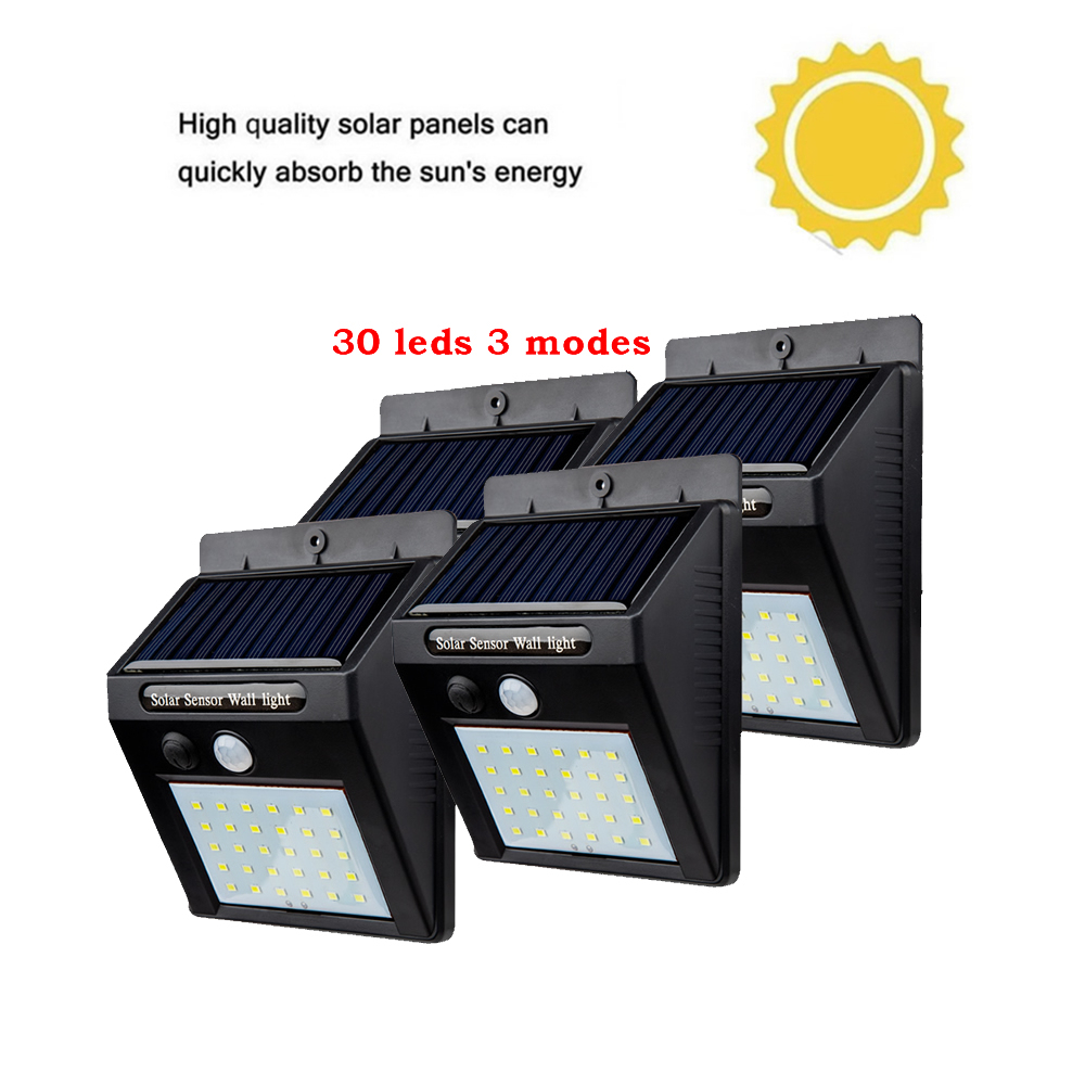 2/4PCS Led Solar Light Outdoor Waterproof Lighting For Garden Wall 30 leds Four Modes Rotable Pole Solar Lamp Newest 500 LM guir