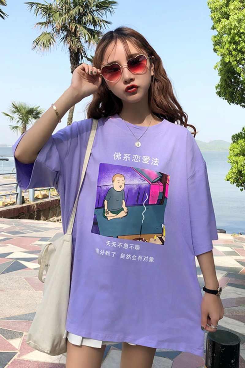 2019 ホット夏の女性のカジュアル Tシャツおかしい中国の手紙トップス女性の Tシャツファッション紫色の漫画プリント女性オーバーサイズトップス