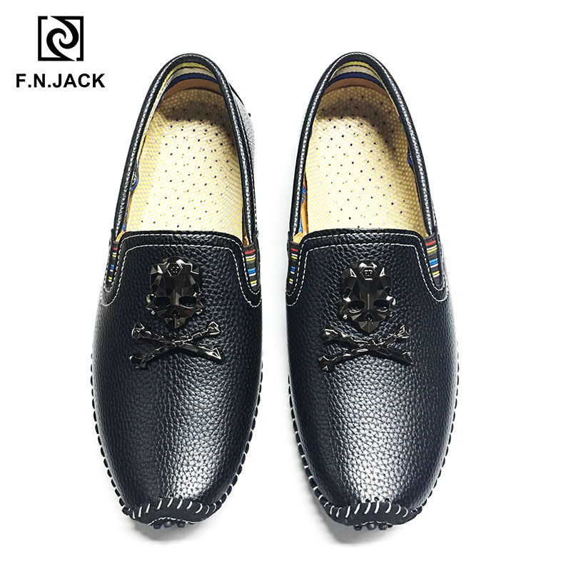 F.N.JACK  New Arrival Classic Black White Men's Shoes Casual Rubber Loafers For Man Leather Driving Shoes