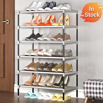 цена Simple Multilayer Shoe Rack Non-woven Iron Assembled Shoe Cabinet Hallway Dustproof Shoe Organizer Living Room Shelf Furntiure онлайн в 2017 году