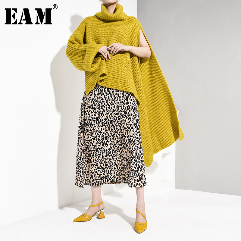 [EAM] 2019 New Spring Fashion Long Flare Sleeve Round Collar Stitching Knitting Thicken Split Twist Sweater Woman BL810
