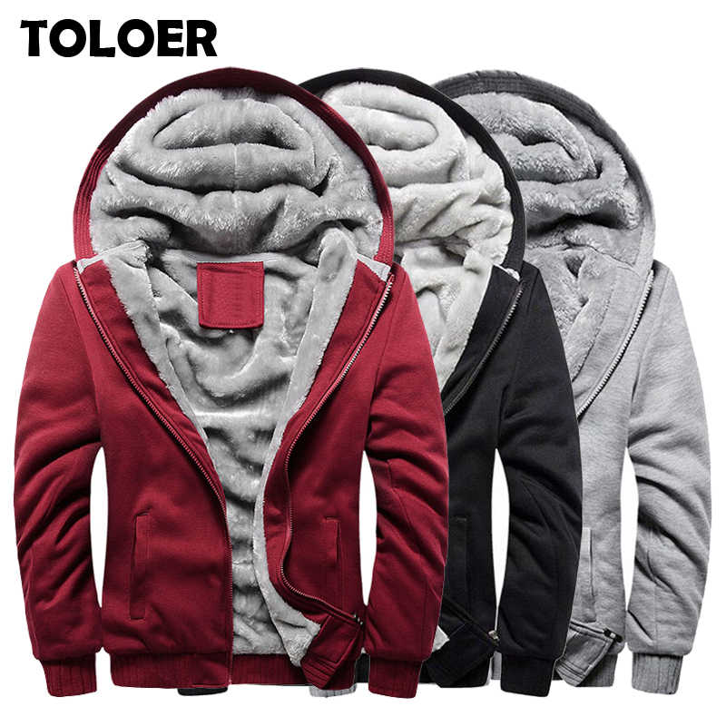Thicken Sweatshirt Men Fashion Fleece Coats Mens Brand Tracksuit Hoodies 2019 Winter Warm Hooded Male High Quality Zipper Jacket