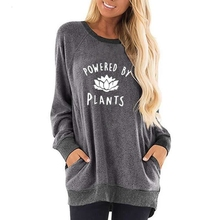 For Women Round Neck Contrast Pocket Powered By Plants Letters Print Sweatshirts Hoodies Tops Kawaii Corduroy Pattern Female