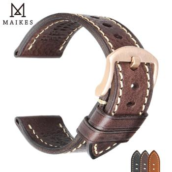 MAIKES Calfskin Leather Watchband Soft Material Watch Band 18mm 20mm 22mm 24mm With Rose Gold Stainless Steel Buckle Wrist Strap calfskin leather watchband quick release watch band wrist strap 18mm 20mm 22mm 24mm smart watch strap watches accessories