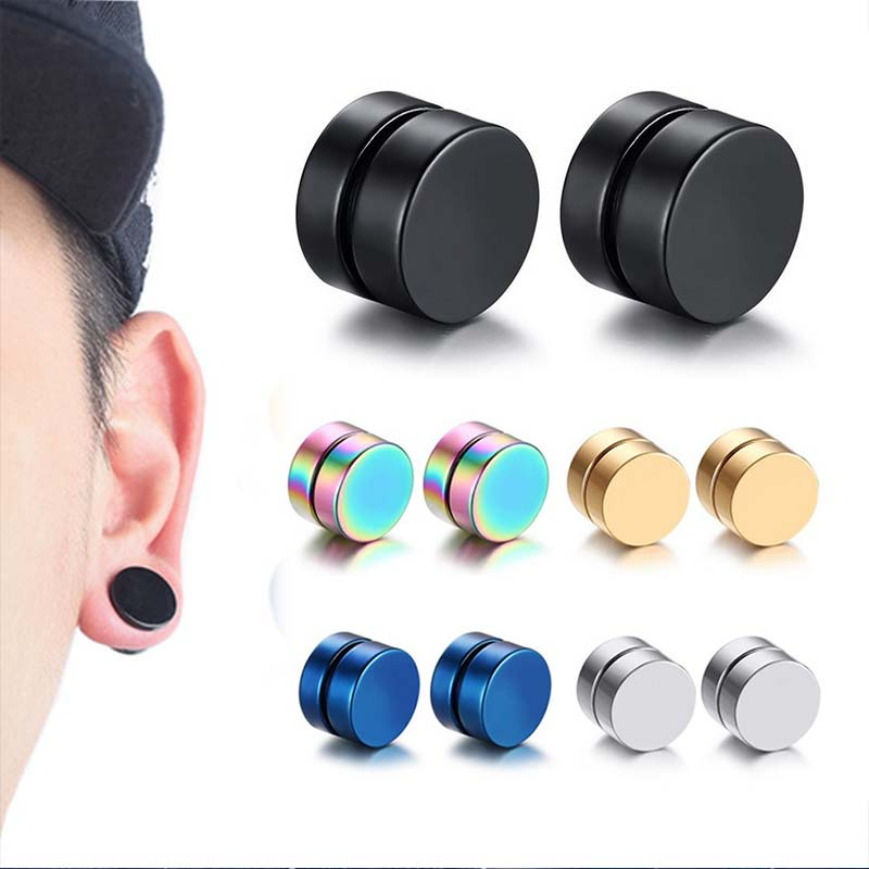 Magnet Earrings Ear-Clip Circle Non-Piercing Round Beautiful Girls 1PC Strong Mens 10mm/12mm5-Colors
