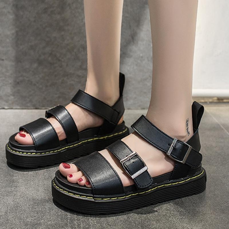 Buckle Sandals Woman Shoes Flat-Heel Chunky Women Platform Black Gladiator Outdoor White