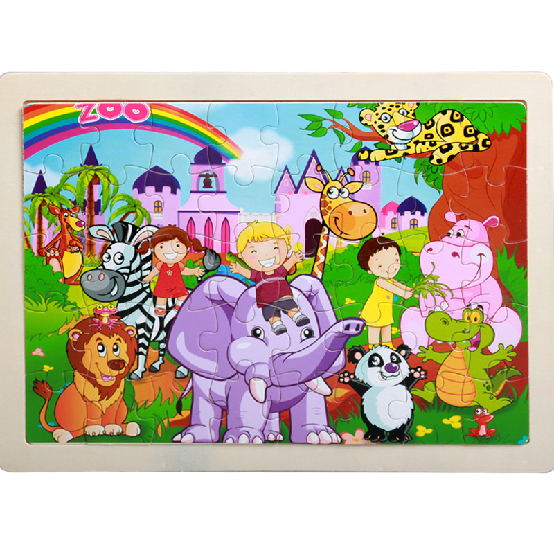 40 Pieces Kids Wooden Puzzle Board Toy Fun Cartoon Animal Jigsaw Boy Girl Baby Early Educational Learning Toys for Children Gift 12