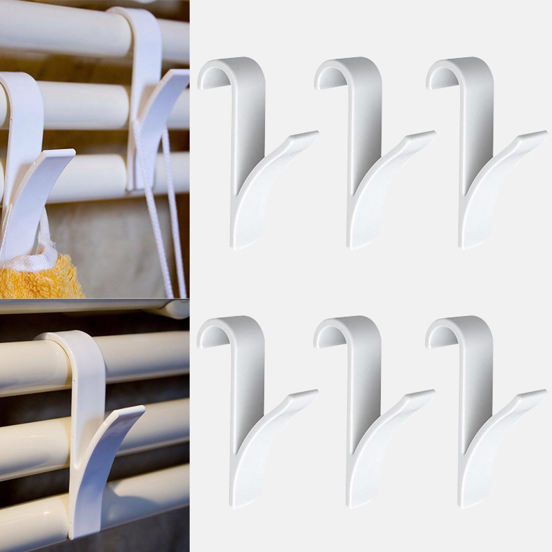 6pcs High Quality Hanger For Heated Towel Radiator Rail  Clothes Hanger  Bath Hook Holder Percha Plegable Scarf Hanger White