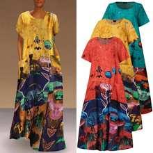 Maxi Dress Women Patchwork Floral Printed Sundress VONDA 2021 Women's Autumn Stylish Robe Female Cotton Linen Dress S-5XL