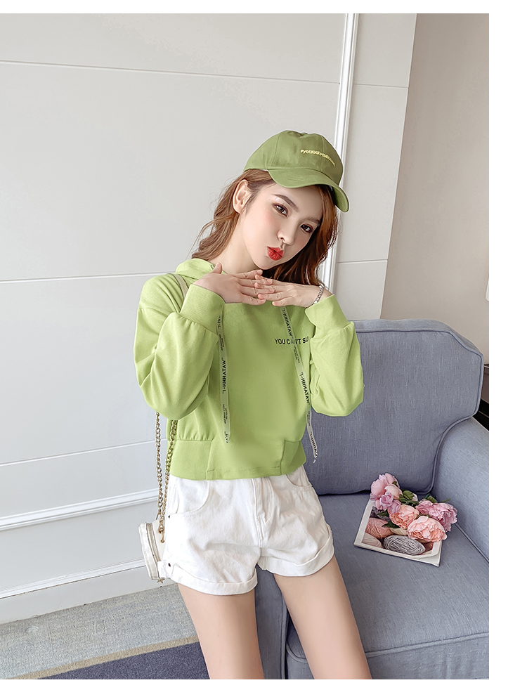 Autumn Cropped Hoodies Women 2019 New Korean Edition Long Sleeve Letter Print Hooded Casual Sweatshirt Pullovers Harajuku Tops 135