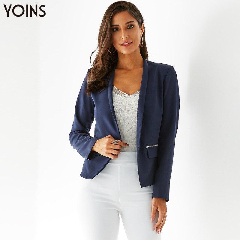 YONIS 2019 Autumn Winter Women Blazer Zipper Back Open Front Short Cardigan Long Sleeves OL Blazer Blazer Feminino Jackets Suit