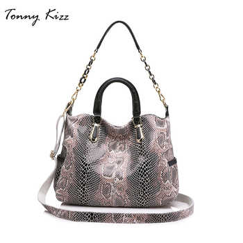Tonny Kizz Women genuine leather tote bag female fashion serpentine prints leather handbags boston bag large shoulder bag - SALE ITEM Luggage & Bags