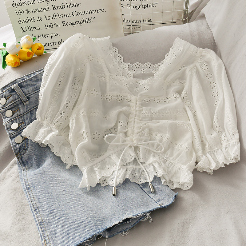 Lace Hollow Out Women Blouse Drawstring Solid Ruffles Short High Waist Lady Elegant Solid Pulls Outwear Coat Tops