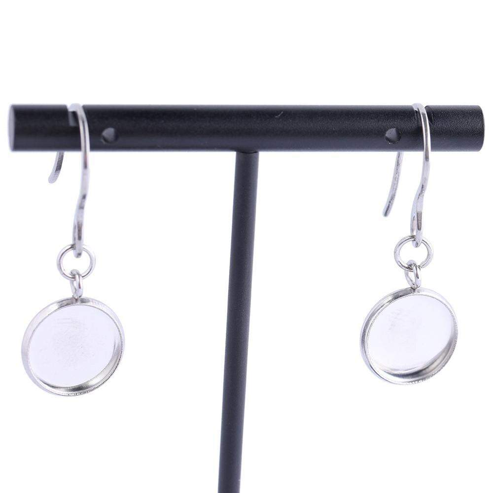 20pcs 12mm Cabochon Earring Base Setting Tray Blanks Stainless Steel Diy Bezel Findings For Earrings Making Supplies