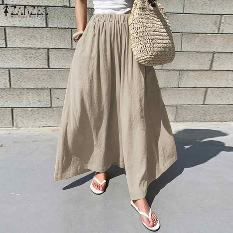 ZANZEA נשים רחב רגל מכנסיים 2019 אופנה משרד ליידי עבודה ארוך מכנסיים כותנה Pantaloes Femme Loose כיסי Streetwear Oversize
