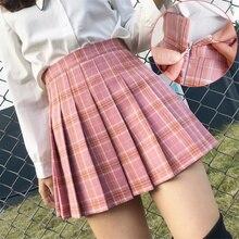 Summer Y2k Korean Fashion Short Women Skirt Harajuku Polyester Black High Waist Plaid Pleated Kawaii A-Line Mini Skirts Uniform
