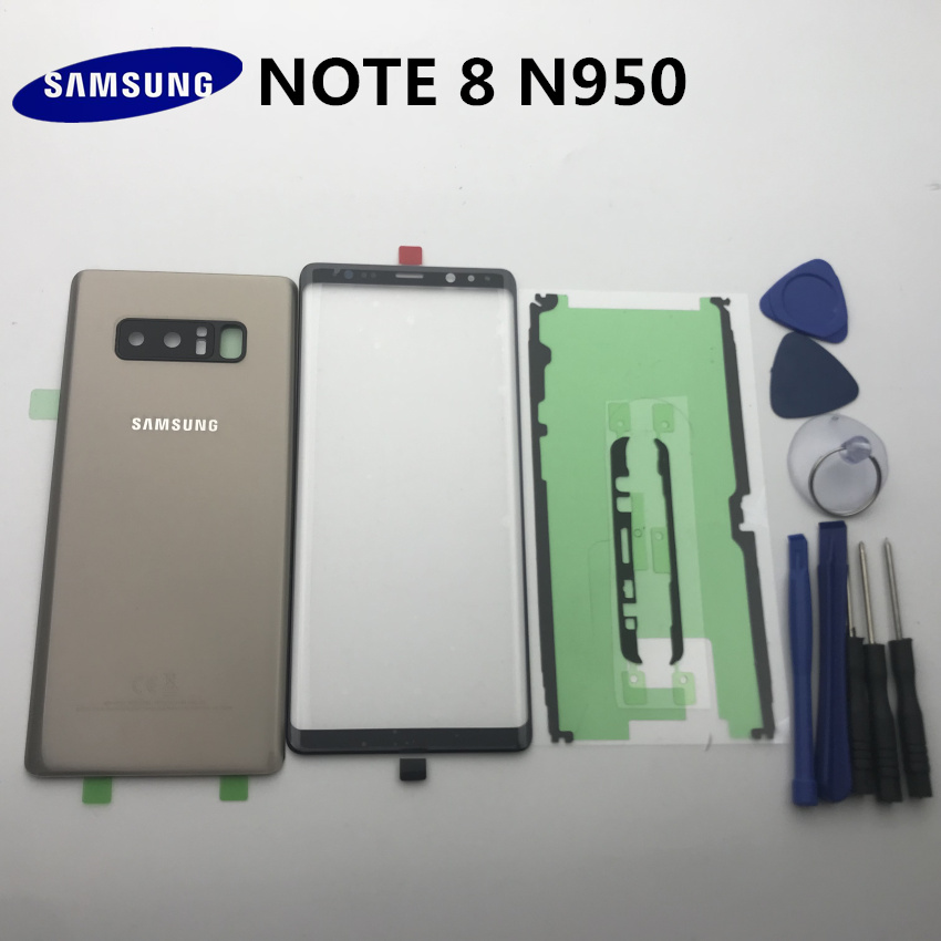 NOTE8 New Original For Samsung Galaxy NOTE 8 N950 N950F Back Glass Cover Rear Battery Cover Door+Front Glass Lens+adhesive+tools