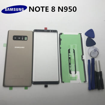 NOTE8 New Original For Samsung Galaxy NOTE 8 N950 N950F Back Glass Cover Rear Battery Cover Door+Front glass lens+adhesive+tools for samsung galaxy note 8 n950 n950f n9500 back cover glass battery case rear door housing case back glass cover
