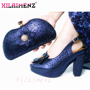 Image 5 - Latest Italian Spring Sandals Shoes And Bag To Match Set For Party Fashion Rhinestone Pumps Shoes And Bag Set in Wine
