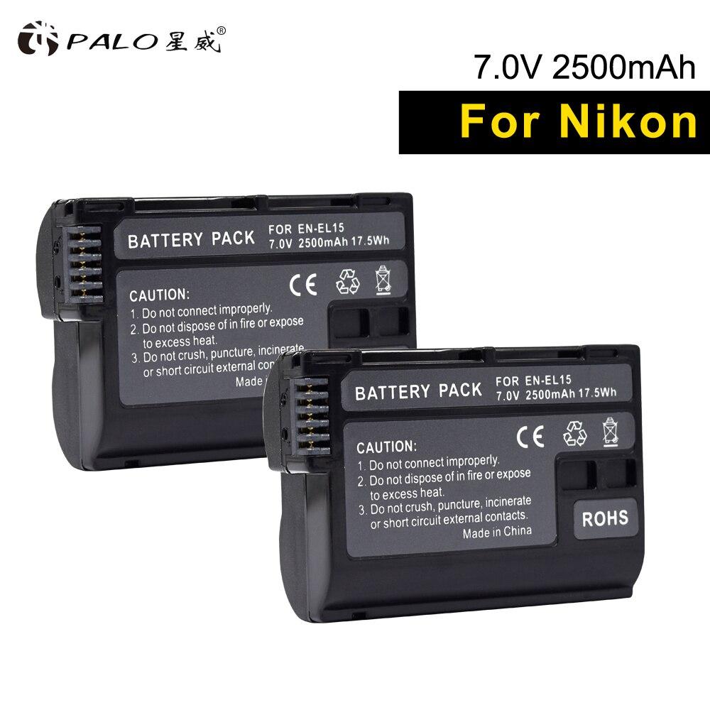 PALO цифровой аккумулятор 2 шт. EN EL15 ENEL15 bateria полный декодированный 2500 мАч Аккумулятор для камеры Nikon D7100 D750 D850 D600 D7200 D810A