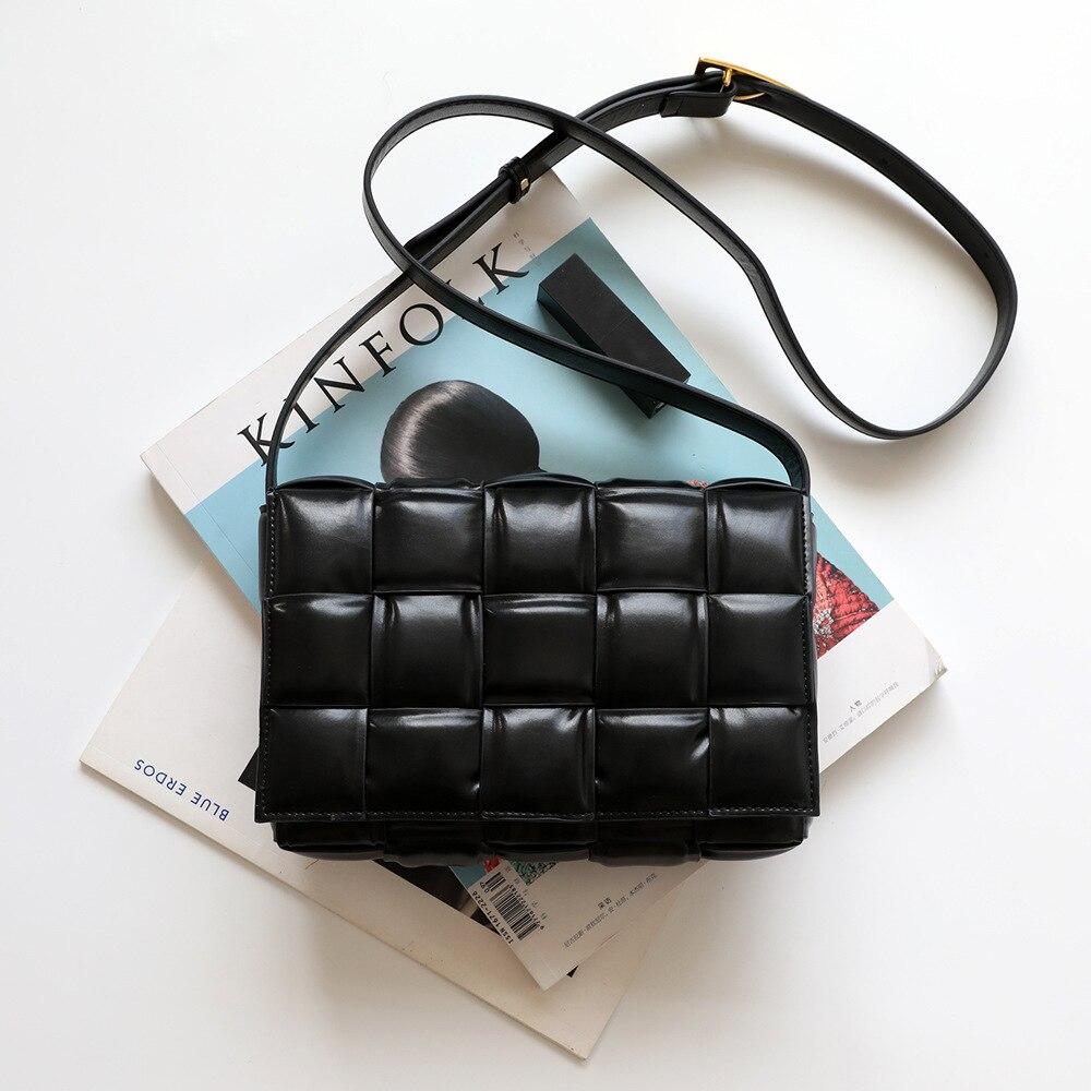 Patchwork Flap Women Shoulder Bag Plaid Genuine Leather Luxury Handbags Designer Baguette Sling Bag Drop Shipping High Quality