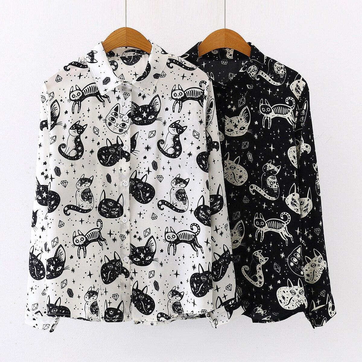 Verano otoño Mujer Camisas Negro Blanco estampado de gato Blusas moda Slim camisa de gasa de manga larga Mujer Tops Blusas Mujer|Blusas y camisas|   - AliExpress