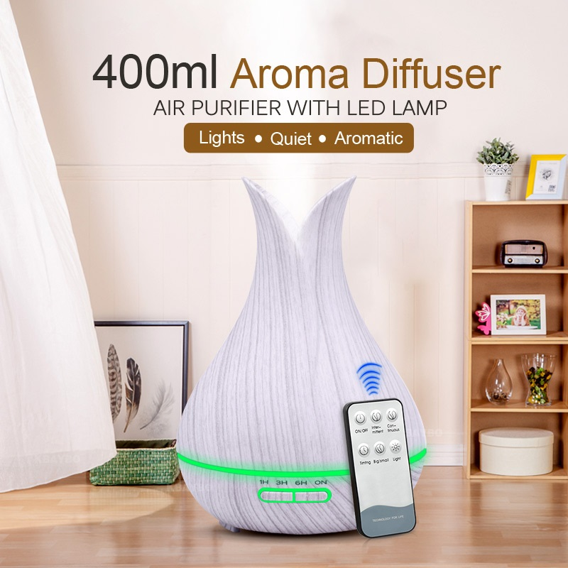 KBAYBO 400ml Ultrasonic Air Humidifier Electric Remote Control Aroma Air Pufifier Essential Oil Diffuser Wood Mistmaker For Home