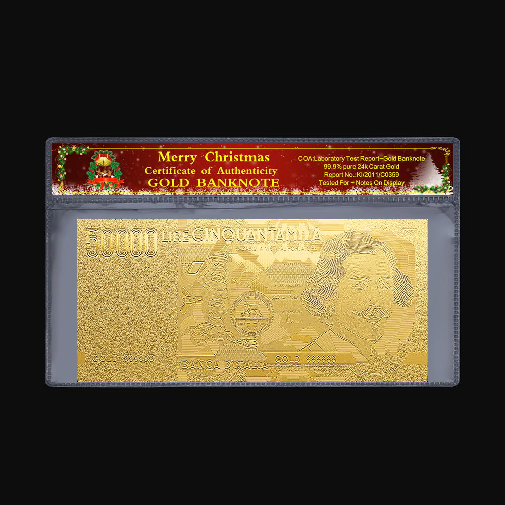 2pcs/Set <font><b>1000</b></font> 2000 5000 50000 100000 <font><b>euro</b></font> 24K gold foil Italian gold commemorative <font><b>banknote</b></font> collection decorative Christmas gift image